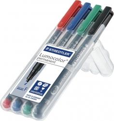 Feinschreiber Lumocolor® Universalstift permanent, F, STAEDTLER Box mit 4 Farben
