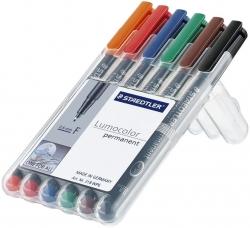 Feinschreiber Lumocolor® Universalstift permanent, F, STAEDTLER Box mit 6 Farben