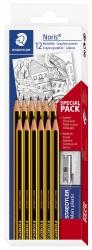 Noris® Bleistift 120 - HB, 12er Set mit Radierer + Spitzer, gelb-schwarz