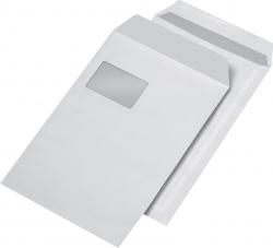 Versandtaschen C4 , mit Fenster, selbstklebend, 90 g/qm, weiß, 250 Stück