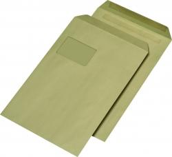 Versandtaschen Recycling - C4 , mit Fenster, selbstklebend, 90 g/qm, braun, 250 Stück