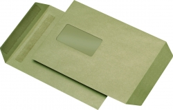 Versandtaschen Recycling - C5, mit Fenster, selbstklebend, 90 g/qm, braun, 500 Stück