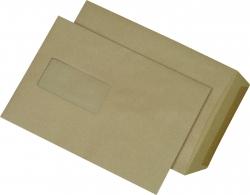 Versandtaschen Recycling - C5, mit Fenster, gummiert, 90 g/qm, braun, 500 Stück