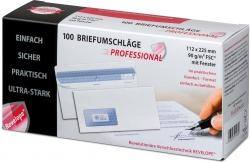 Briefumschlag - 112 x 225 mm, m. Fenster, weiß,  90 g/qm, Innendruck, Revelope-Klebung, 100 Stück