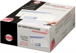 Briefumschlag - 112 x 225 mm, m. Fenster, weiß,  90 g/qm, Innendruck, Revelope-Klebung, 500 Stück