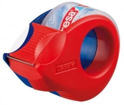 tesa® Mini Abroller, 10 m x 19 mm, rot-blau, inkl.  Rolle kristall-klar