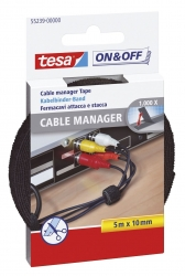 On & Off Cable Manager - 10 mm x 5 m, schwarz, universal