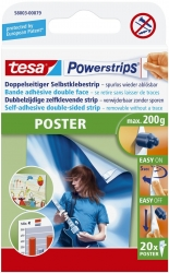 Powerstrips® Poster - ablösbar, Tragfähigkeit 200 g, weiß,20 Stück