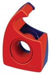 Handabroller für Klebefilm - tesa Easy Cut®, 10 m x 19 mm, rot/blau
