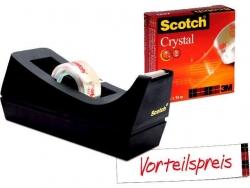 Tischabroller Sparset C38 - inkl.  1 Rolle Crystal Clear Klebefilm 600, schwarz
