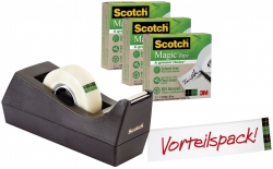 Tischabroller greenerChoice - inkl. 3 Rollen Klebefilm, schwarz
