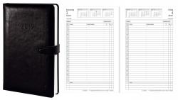 Tageskalender - A5, Hardcover, Lederimitat, schwarz, 1 Tag / 1 Seite