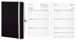 Wochenkalender - Mini, Softcover, schwarz, 1 Woche / 2 Seiten