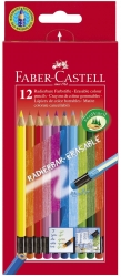 Buntstift Radierbare - 12 Farben sortiert mit Radiergummi, Kartonetui