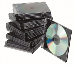 CD-Boxen Standard - Slim Line für 1 CD/DVD, transparent/schwarz, Packung mit 25 Stück