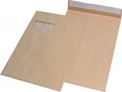 Faltentaschen C4, mit Fenster, mit 20 mm-Falte, 120 g/qm, braun, 100 Stück