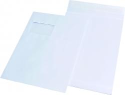 Faltentaschen C4, mit Fenster, mit 20 mm-Falte, 120 g/qm, weiß, 100 Stück