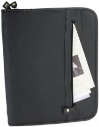 Reißverschlussmappe MILANO - A4, Echt Leder, schwarz