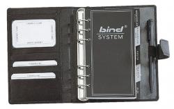 Systemplaner A6 Office, Nappaleder, schwarz, mit Druckknopfverschluss
