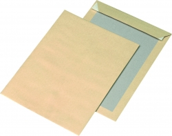 Papprückwandtaschen Recycling - C4, ohne Fenster, 110 g/qm, braun, 125 Stück