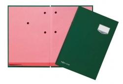 Unterschriftsmappe DE LUXE - 20 Fächern, A4, Leinen-Einband, grün