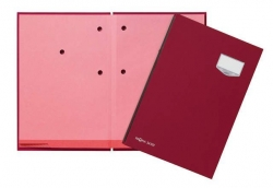 Unterschriftsmappe DE LUXE - 20 Fächern, A4, Leinen-Einband, rot