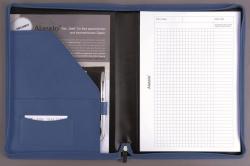 Schreibmappe VALLO - A4, Echt Leder, blau