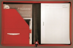 Schreibmappe VALLO - A4, Echt Leder, rot