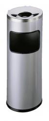 Standascher mit Flammenlöschkopf SAFE rund, Metall, 250x630mm (ØxH), 17 l, silber metallic