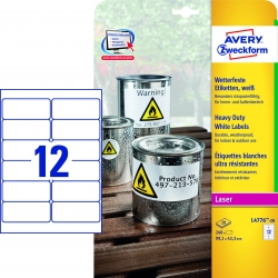 L4776-20 Wetterfeste Folien-Etiketten (A4, 240 Stück, 99,1 x 42,3 mm) 20 Blatt weiß