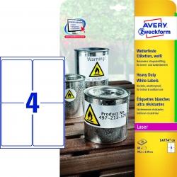 L4774-20 Wetterfeste Folien-Etiketten (A4, 80 Stück, 99,1 x 139 mm) 20 Blatt weiß