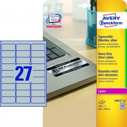 L6011-20 Typenschild-Etiketten - A4, 540 Stück, 63,5 x 29,6 mm, wetterfest, 20 Blatt silber