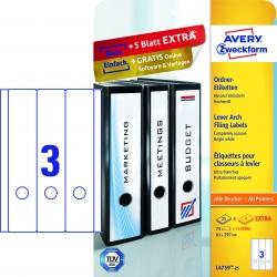 L4759-25 Ordner-Etiketten, 61 x 297 mm, breite Ordner (lang), 30 Bogen/90 Etiketten, weiß