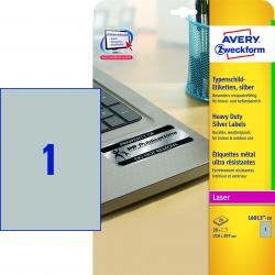 L6013-20 Typenschild-Etiketten - A4, 20 Stück, 210 x 297 mm, wetterfest, 20 Blatt silber