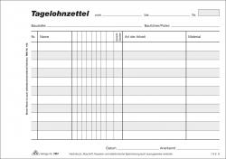 Tagelohnzettel - Block, 3 x 50 Blatt, DIN A5 quer, mit Durchschreibepapier