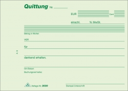Quittung - Block, 50 Blatt, DIN A6 quer, mit Durchschreibepapier
