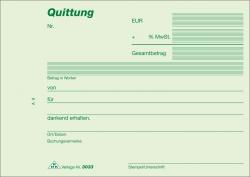 Quittung - Block m. MwSt. - SD, 2 x 40 Blatt, DIN A6 quer