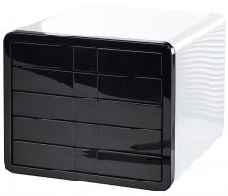 Schubladenbox i-Box - A4/C4, 5 geschlossene Schubladen, weiß-schwarz