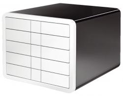Schubladenbox i-Box - A4/C4, 5 geschlossene Schubladen, schwarz/weiß