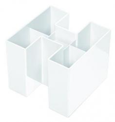 Schreibtisch-Köcher BRAVO - 5 Fächern, hochglänzend, weiß