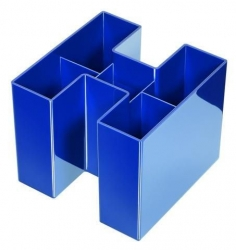 Schreibtisch-Köcher BRAVO - 5 Fächern, hochglänzend,  blau