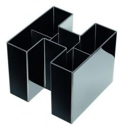 Schreibtisch-Köcher BRAVO - 5 Fächern, hochglänzend,  schwarz
