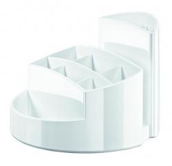 Schreibtischköcher RONDO - 9 Fächer, Gummifüße, Briefschlitz, hochglänzend, weiß