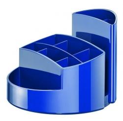 Schreibtischköcher RONDO - 9 Fächer, Gummifüße, Briefschlitz, hochglänzend, blau
