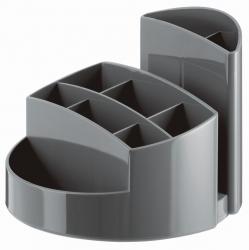 Schreibtischköcher RONDO - 9 Fächer, Gummifüße, Briefschlitz, dunkelgrau