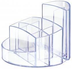 Schreibtischköcher RONDO - 9 Fächer, Gummifüße, Briefschlitz, hochglänzend, lichtblau-signal