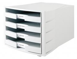 Schubladenbox IMPULS, DIN A4/C4, 4 offene Schubladen, lichtgrau
