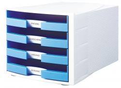 Schubladenbox IMPULS, DIN A4/C4, 4 offene Schubladen, weiß-Trend Colour hellblau