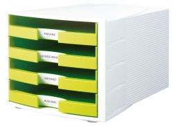 Schubladenbox IMPULS, DIN A4/C4, 4 offene Schubladen, weiß-Trend Colour lemon
