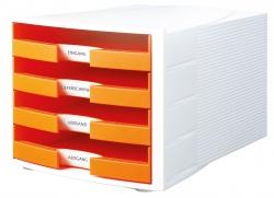 Schubladenbox IMPULS, DIN A4/C4, 4 offene Schubladen, weiß-Trend Colour orange